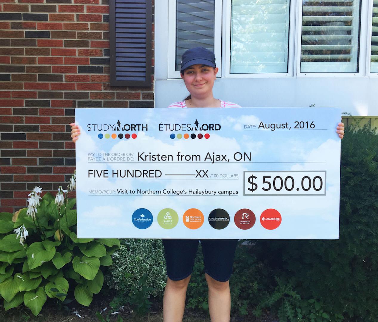 KristenNorthernCollegeAjax_cheque