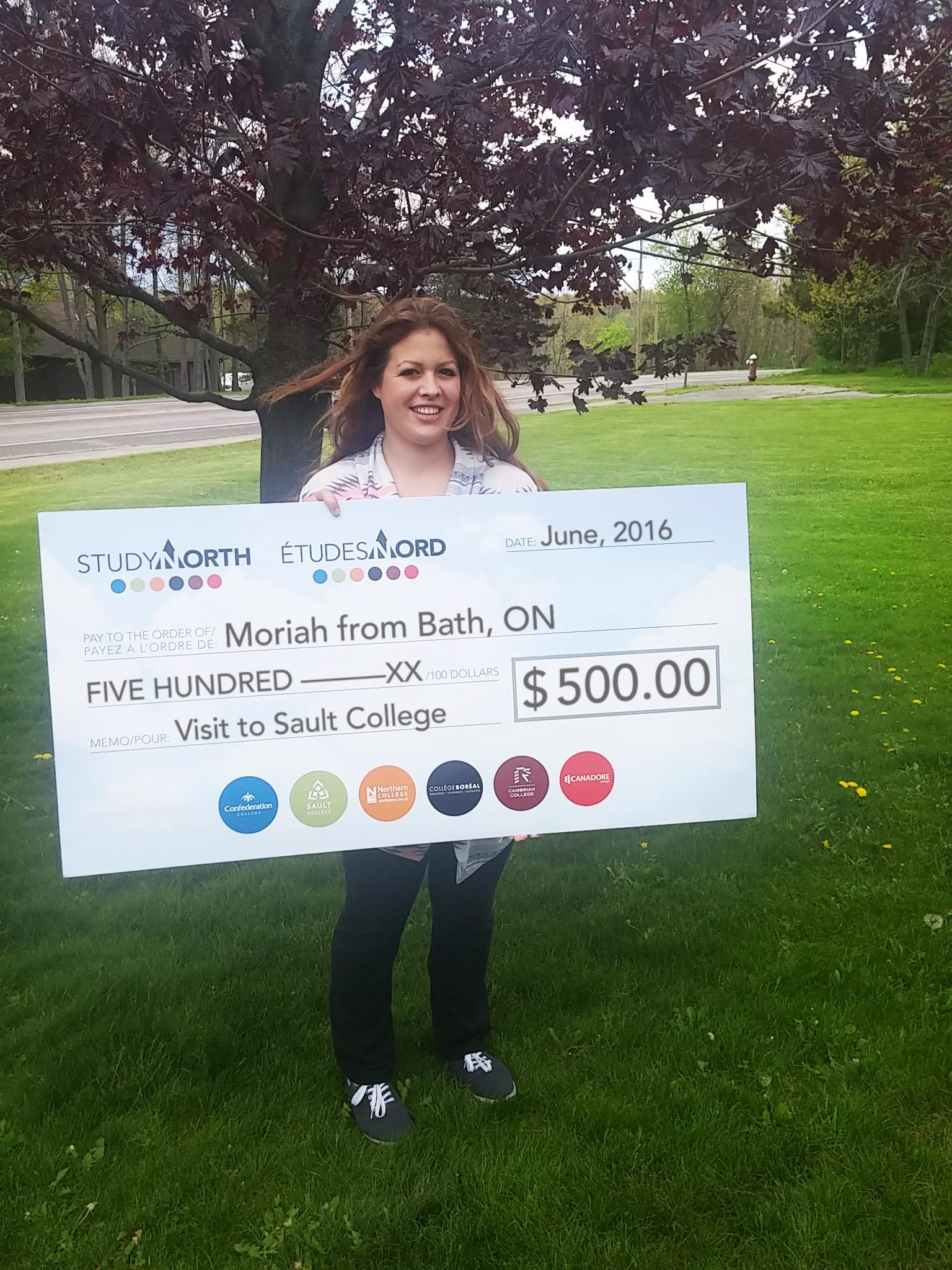 Moriah BathON Sault_cheque-1