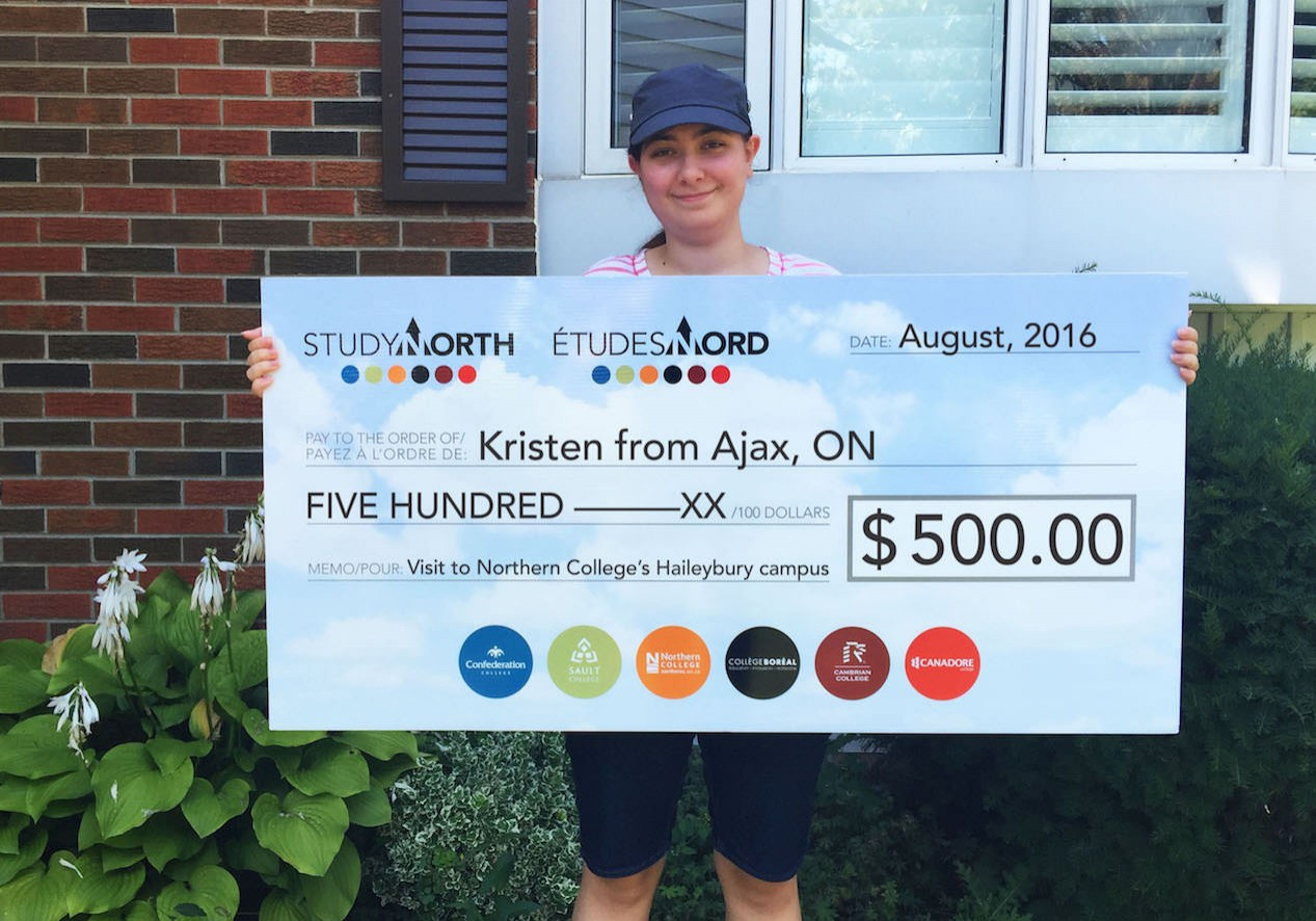 KristenNorthernCollegeAjax_cheque